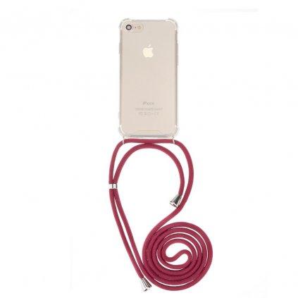 131615 1 pouzdro forcell cord apple iphone 6 6s transparentni cervena snurka