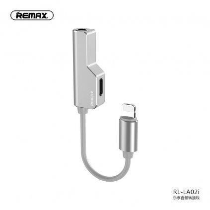 134477 remax adapter audo hf pro apple lightning lightning aux jack 3 5mm stribrny