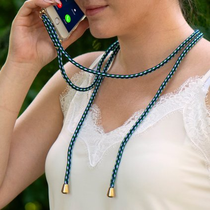 158336 pouzdro forcell cord huawei p40 lite e transparentni zelena snurka
