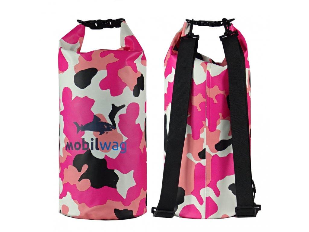 Vodotěsný mobilwag s popruhy barva růžový militar (Velikost 15 litrů)
