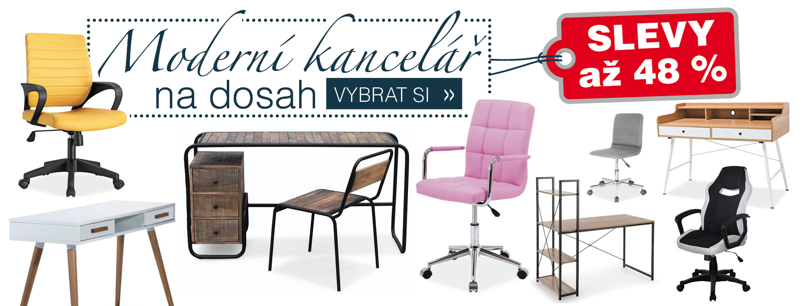 Kancelář v novém: Kancelářské židle a stoly se slevou až 48 %