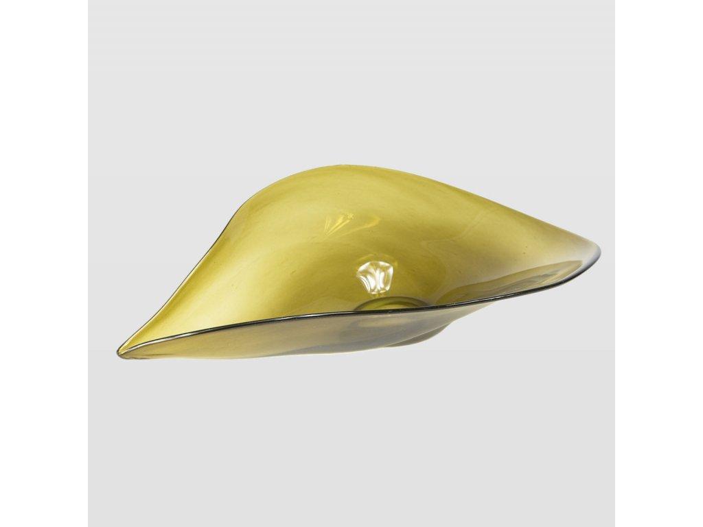 Skleněná mísa Shell olivová