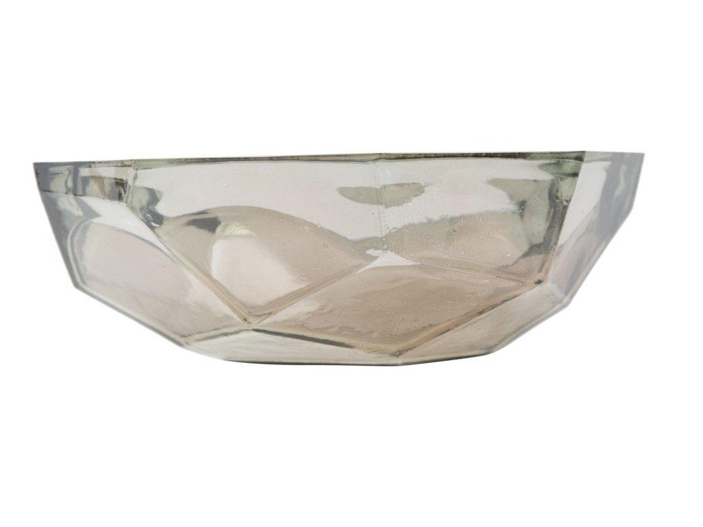 Dekorační mísa z recyklovaného skla STONE AMBER 25x8 ze Španělska