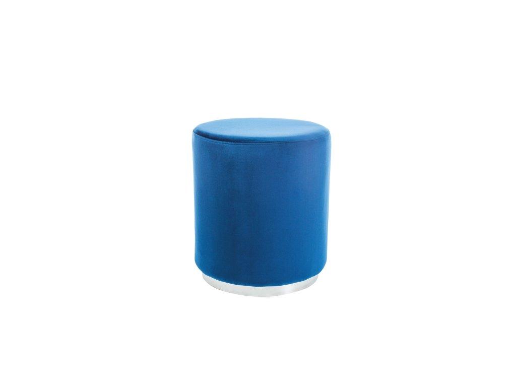 Taburet FURLA stříbrný/tmavě modrý samet polstrování č.106