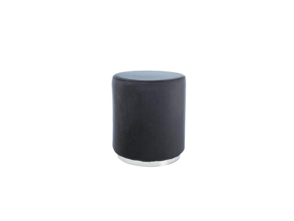 Taburet FURLA stříbrný/černý samet polstrování č.105