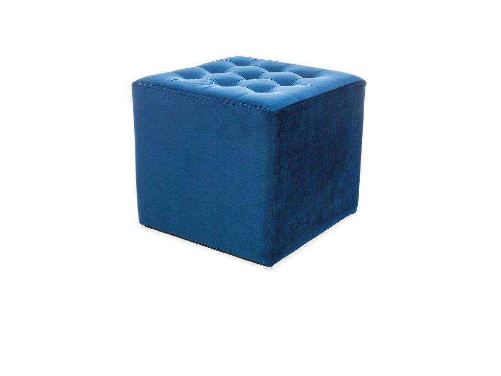 Taburet LORI velvet tmavě modrý bluvel 86