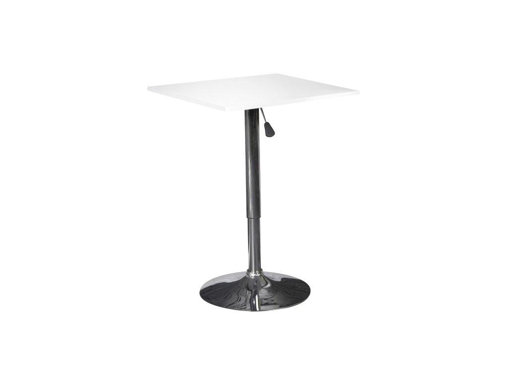 Barový stolek QBIK bílý - seřízení výšky, MDF, chrom