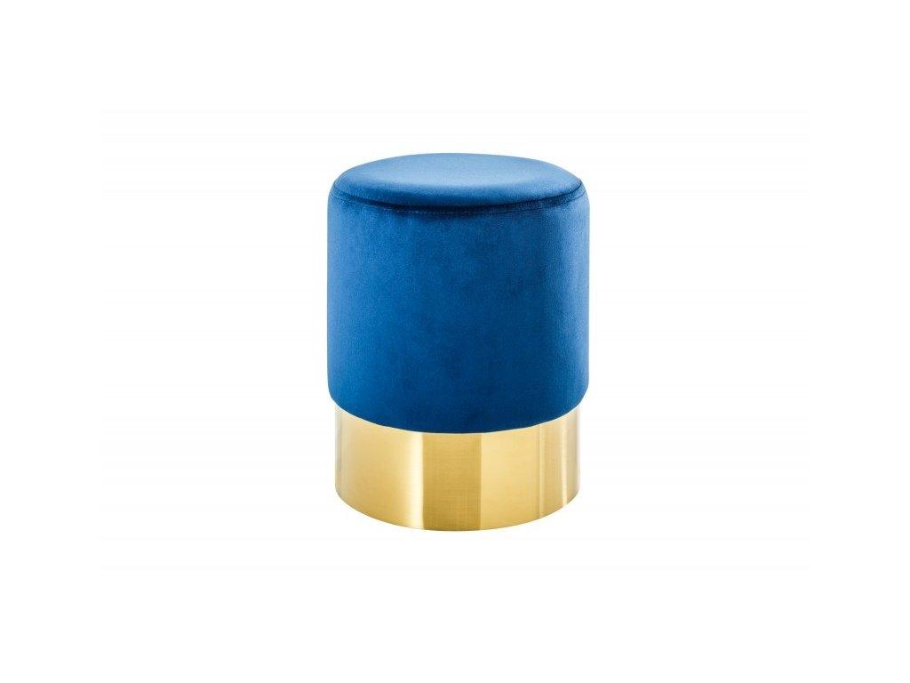 Taburet BAROCK VELVET modrý - zlatá základna