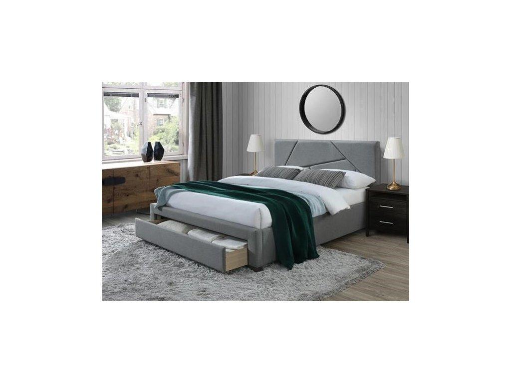 VALERY postel 160 cm se zásuvkami šedá