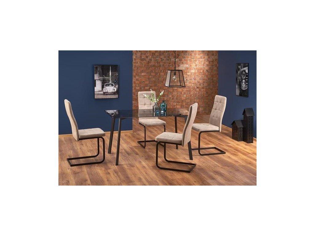 TRAX stůl deska - kouřová, nohy - černé