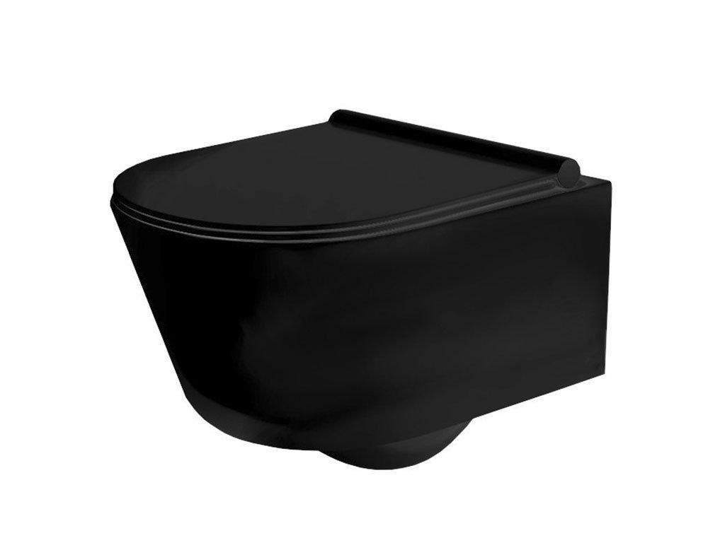 Záchodová mísa závěsná Porter Black Rimless