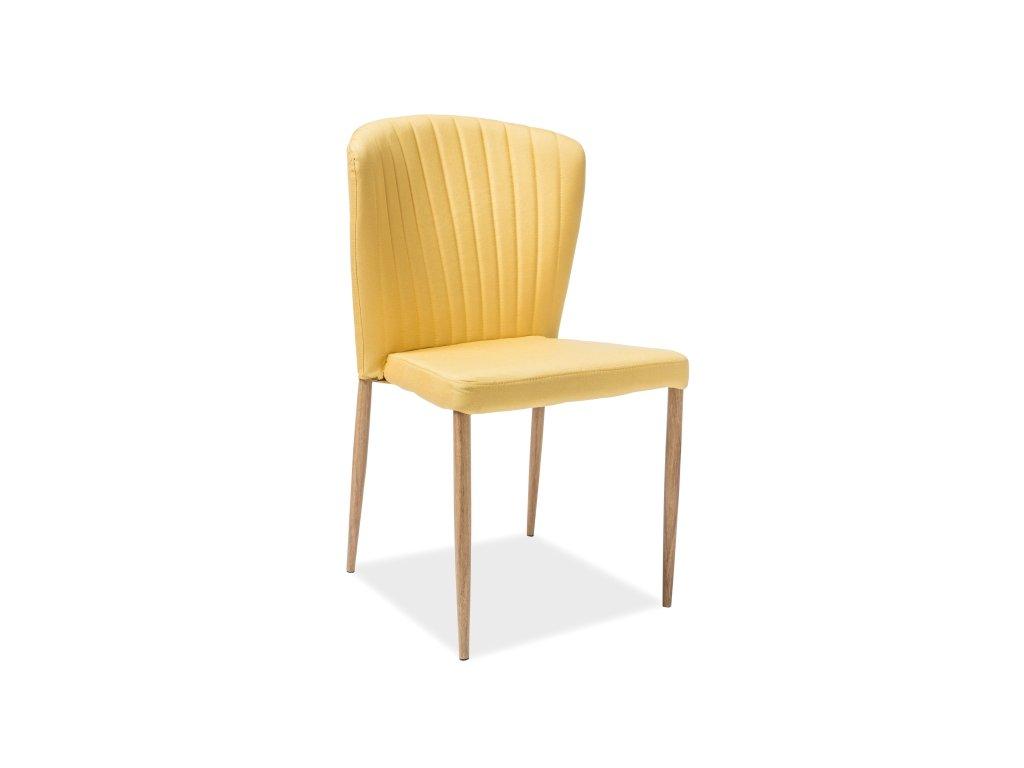 Židle POLLY dub kostra/žluté polstrování č. 124