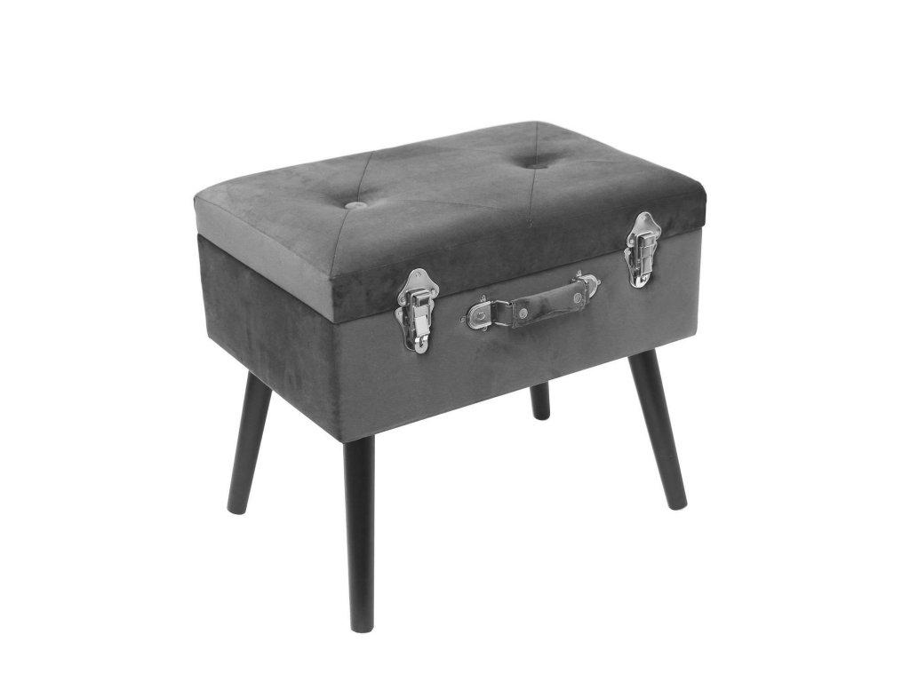 Taburet/skříňka Pils Duo samet šedý