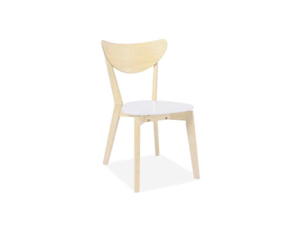 Židle CD-19 dub bělený/bílá