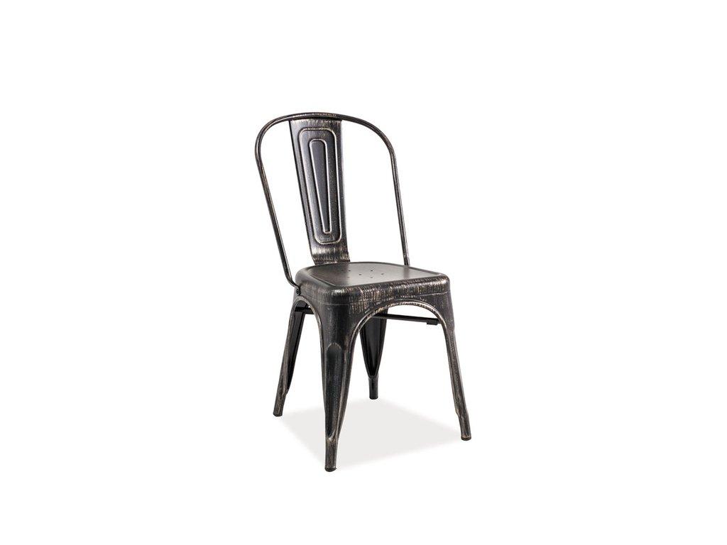 Židle LOFT černá přetíraná