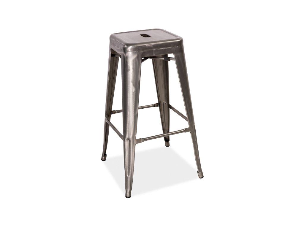 Barová židle LONG ocel kartáčovaná