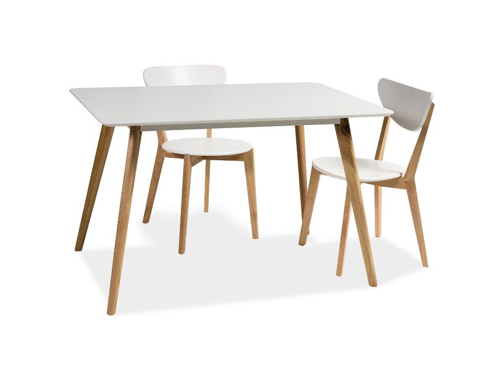 Stůl MILAN bílý/dub 120x80
