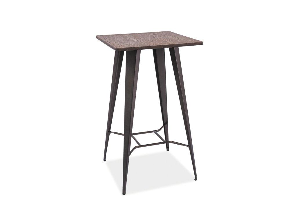 Stolek barový RETTO tmavý ořech/antracit 60x60x102