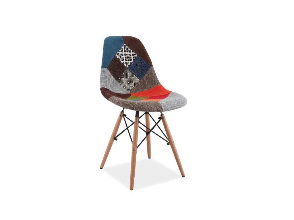 Židle SIMON A buk/patchwork