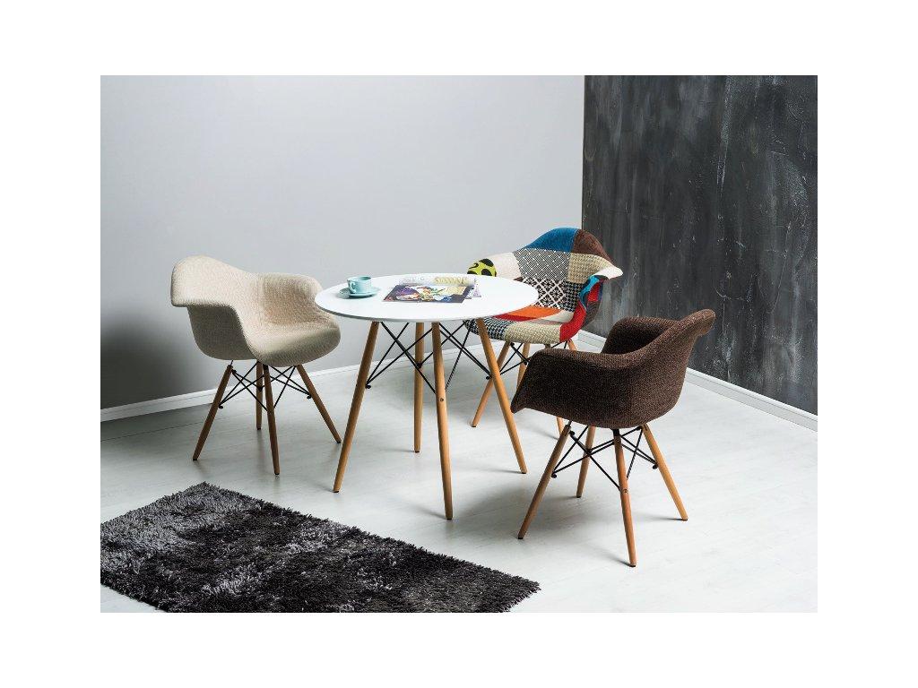 Stůl SOHO bílý/buk 80x80