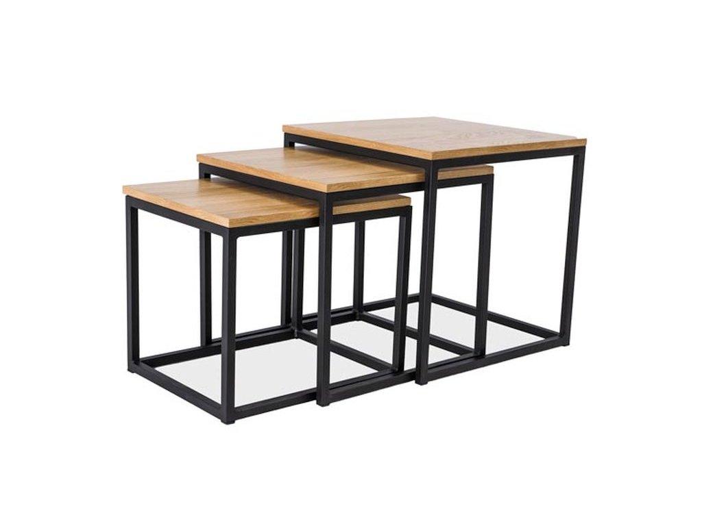 Konferenční stolek TRIO dub/černá (sada)