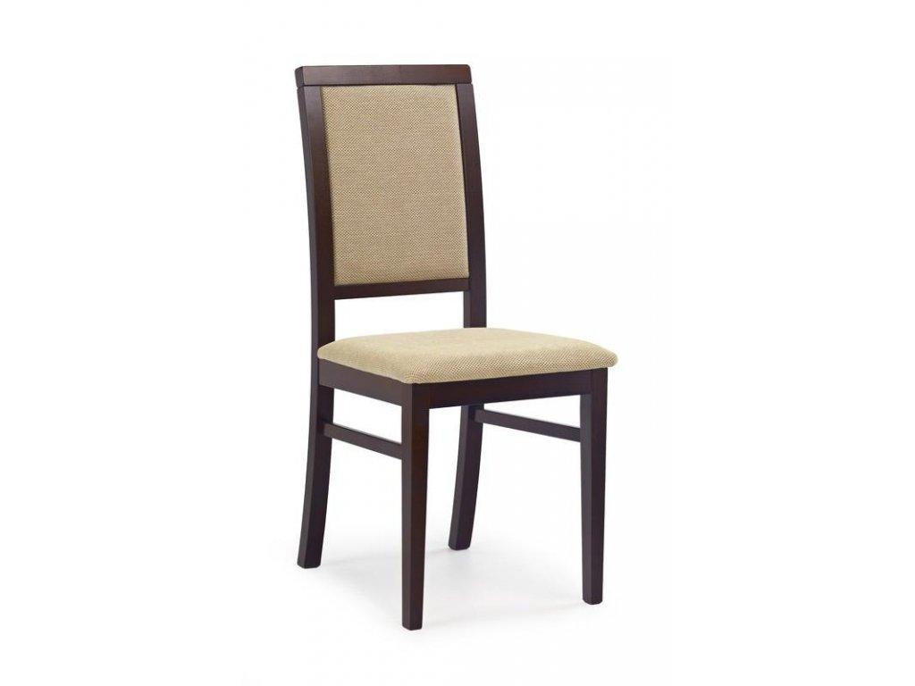 SYLWEK1 židle tmavý ořech, látka / Polstrování: Torent Beige