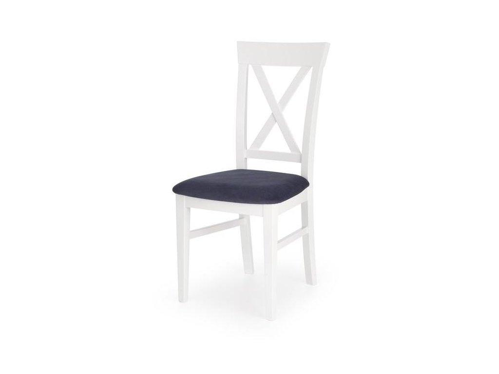 BERGAMO židle bílá-tmavomodrá