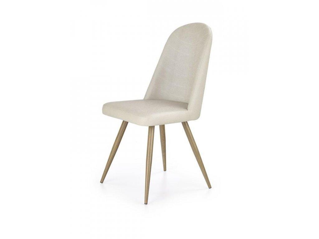 K214 židle tmavě krémová / dub velbloudí