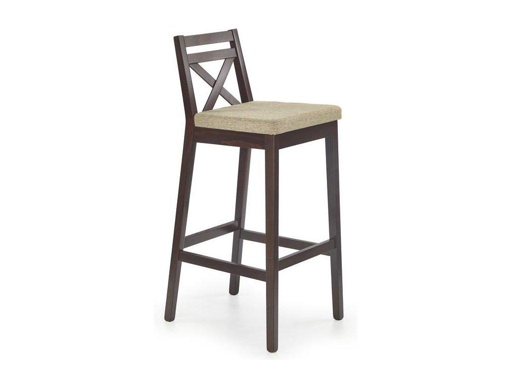 BORYS židle barové vysoké tmavý ořech / Polstrování: Vila 2