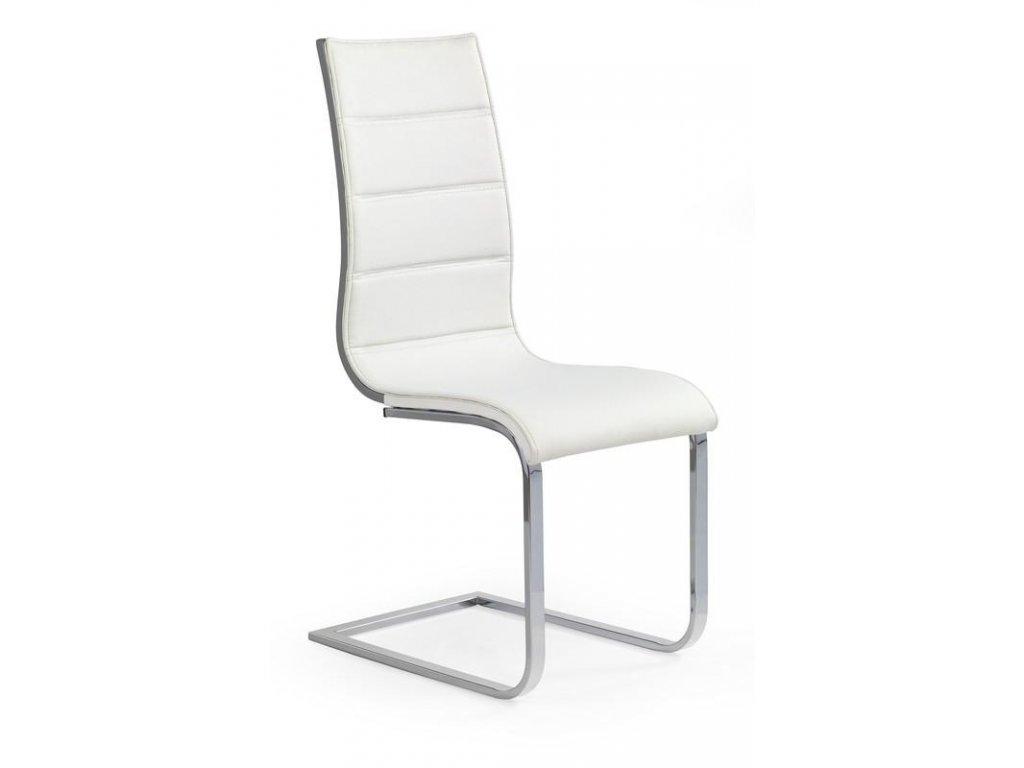 K104 židle bílá / šedá koženka