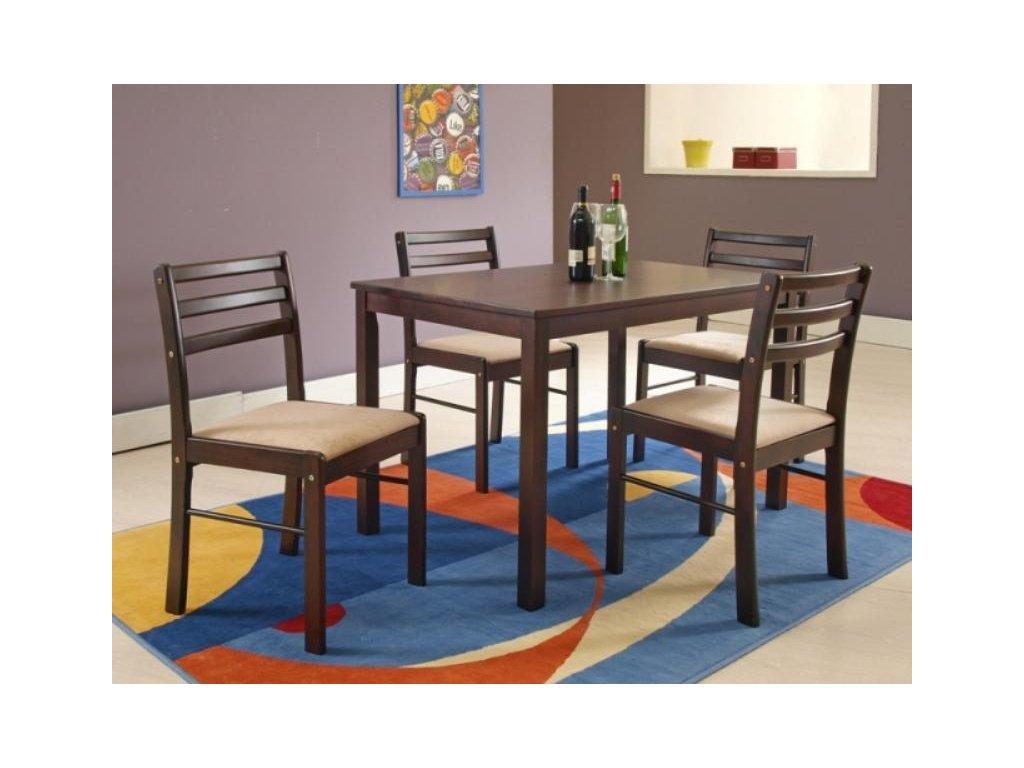 NEW STARTER sada stůl + 4 židle espresso