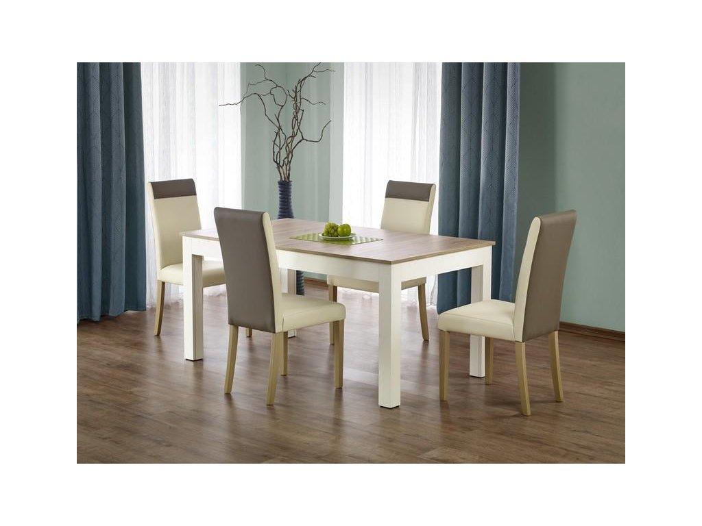 SEWERYN 160 / 300 cm stůl barva dub sonoma / bílý (160-300x90x76 cm)