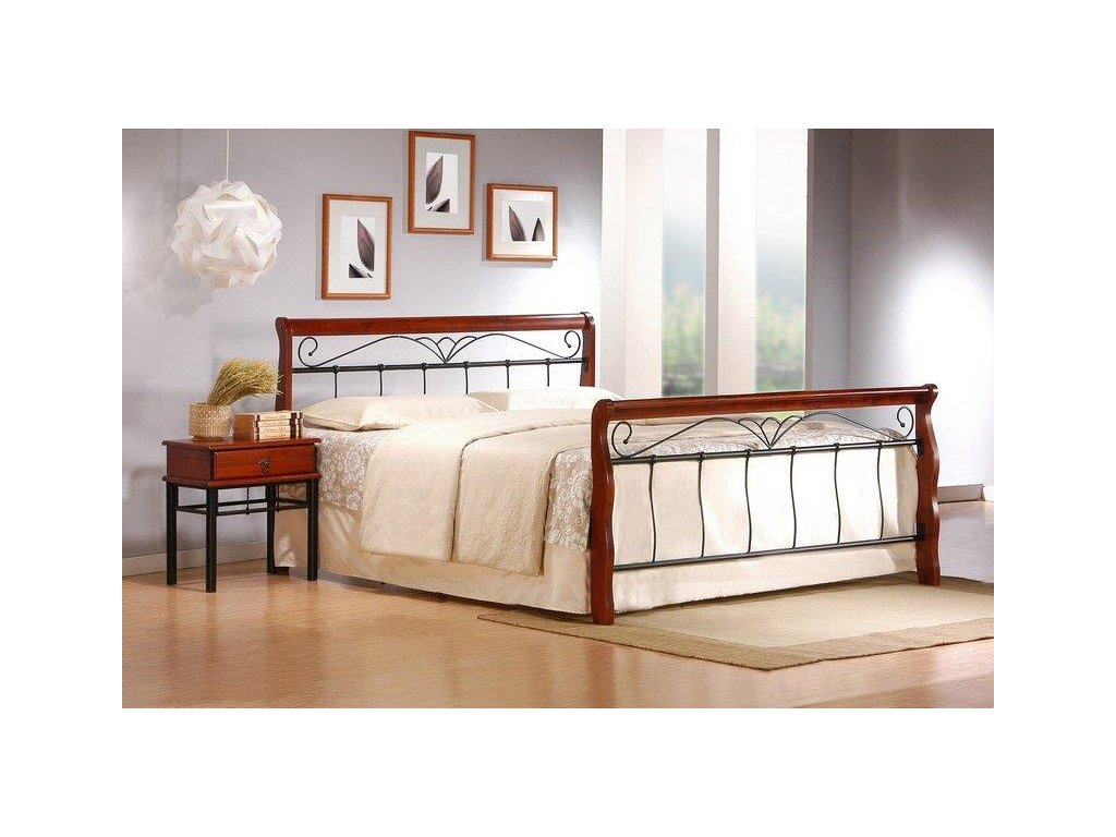 VERONICA postel 160 cm antická třešeň / černá