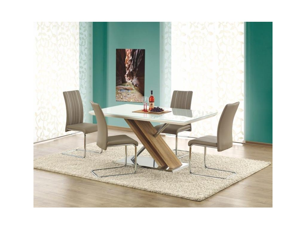 NEXUS stůl extra bílý / dub sonoma