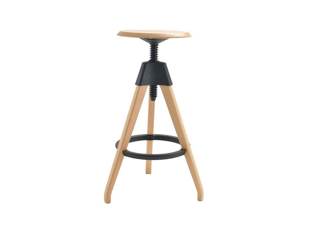 Barová židle TOM černá polypropylen/dřevo