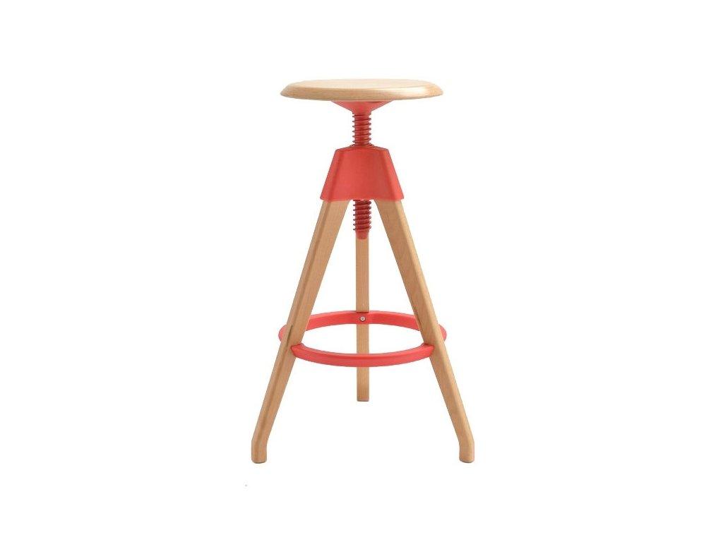 Barová židle TOM červená polypropylen/dřevo