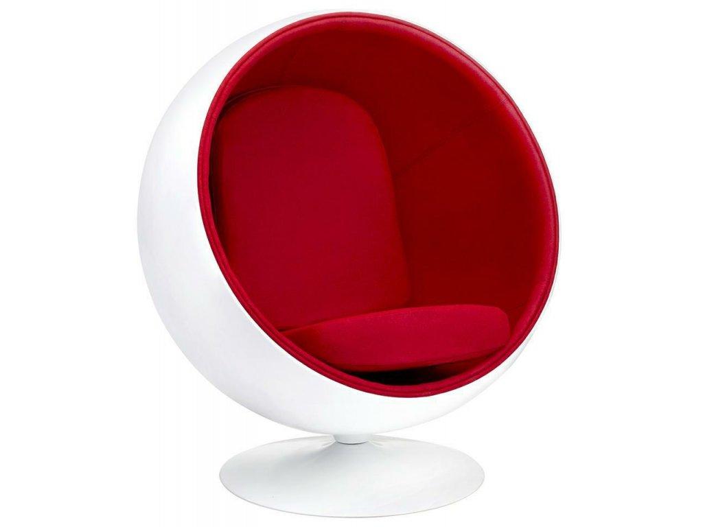 Křeslo BALL - červené, skleněné vlákno/ vlna