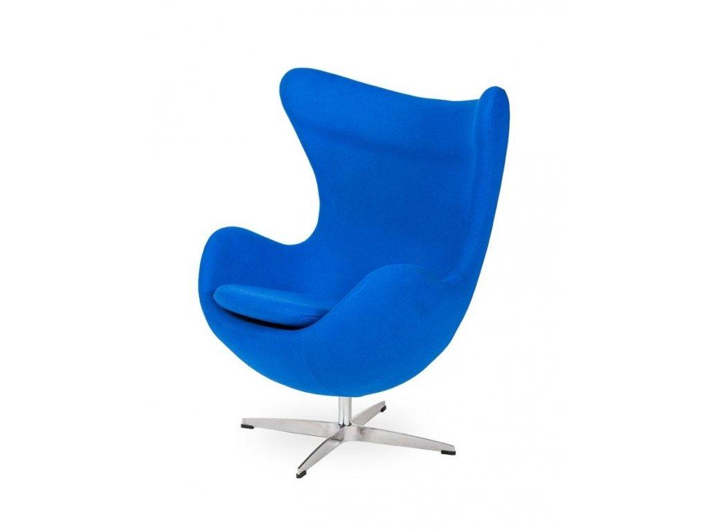 Křeslo EGG - chrpově modré #33 vlna/ chrom