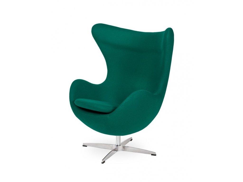 Křeslo EGG - emerald zelené #41 vlna/ chrom