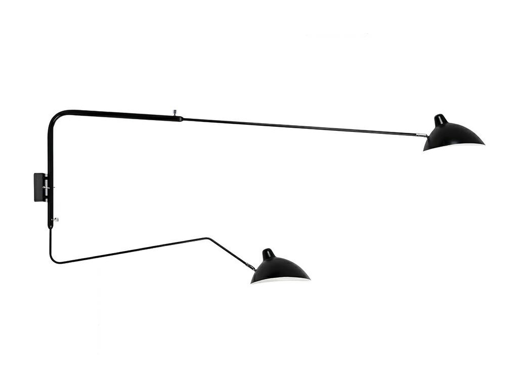Lampa nástěnná RAVEN 2 wall kov/černá bílá/2 ramena