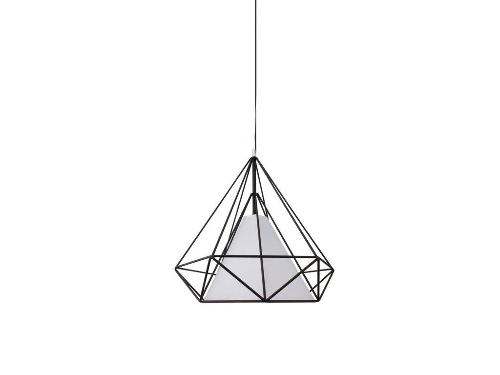 Lustr - lampa závěsná ORNAMENT 38 kov/černá/bílá stínidlo