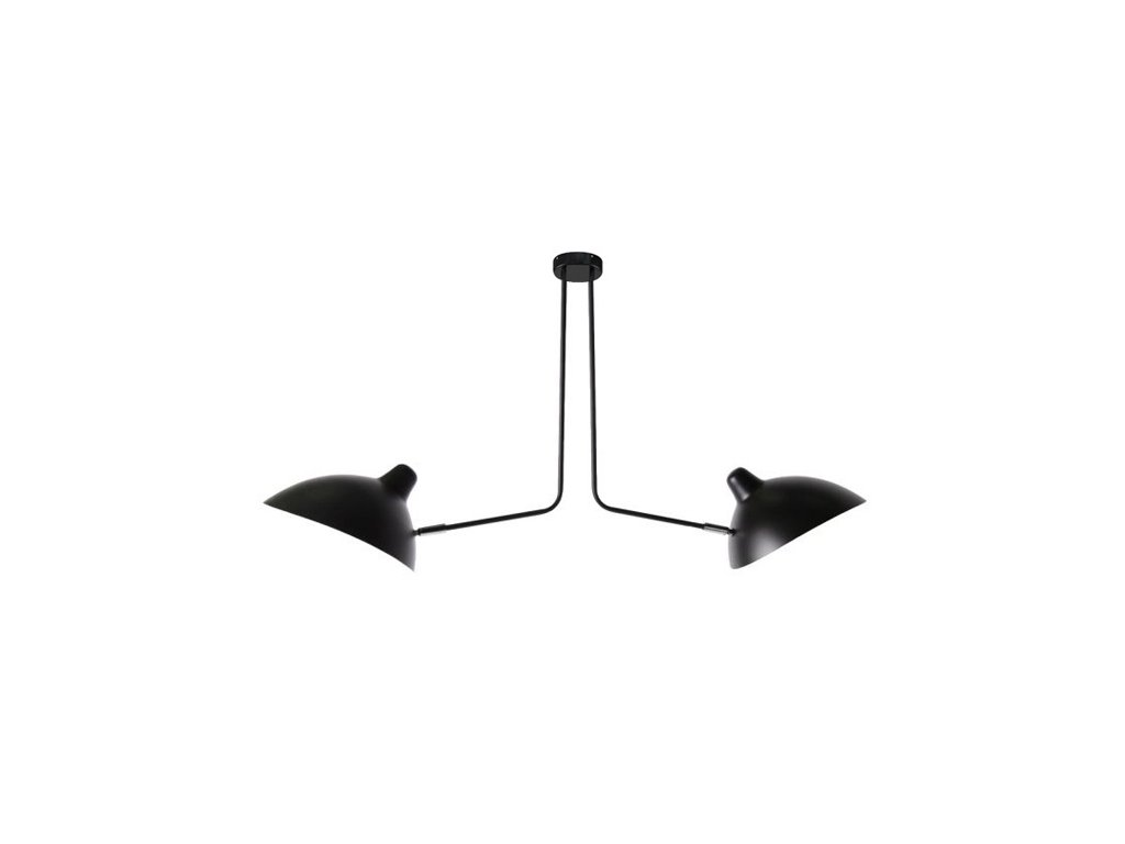 Lustr - lampa závěsná RAVEN 2 kov/černá bílá/2 ramena