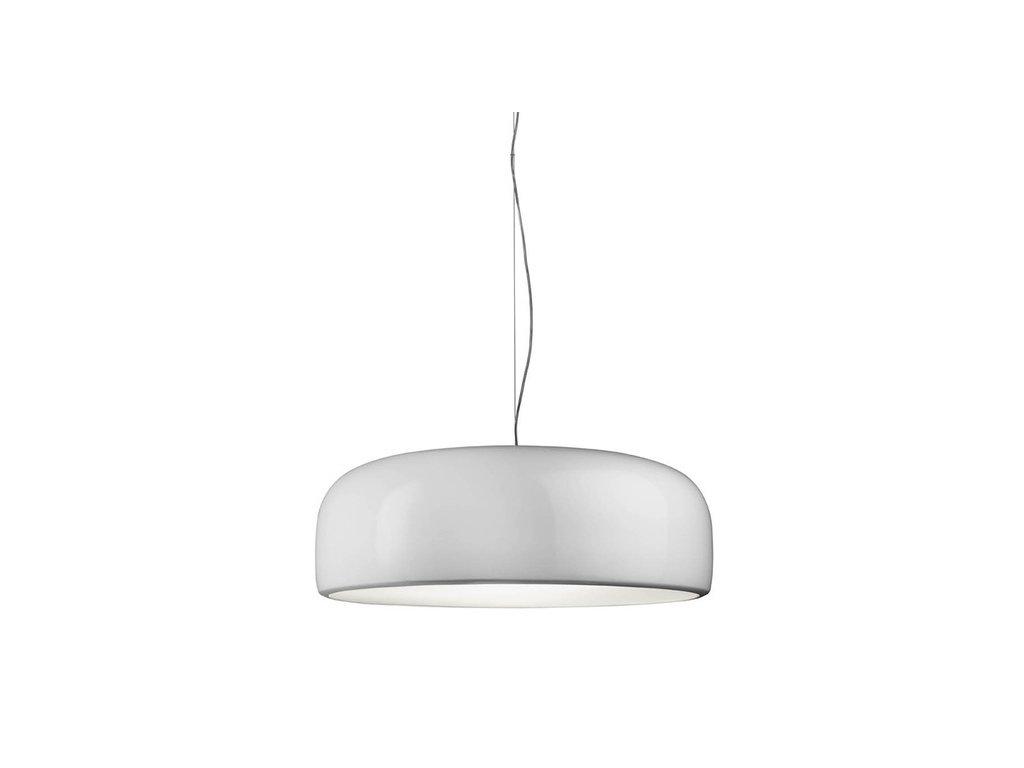 Lustr - lampa závěsná SMITH bílá kov syntetická látka bílá