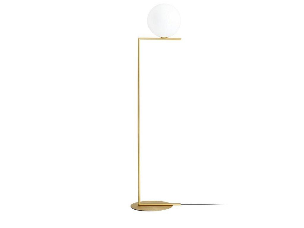 Lampa HALMCE FLOOR - mosaz, sklo