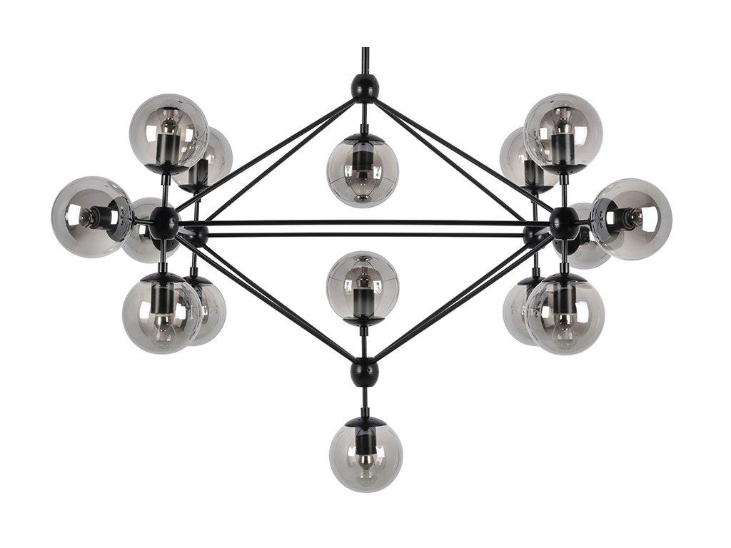 Lustr - lampa závěsná PLANETARIO 15 - kouřová stínidla