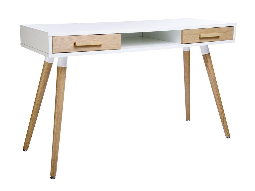 Psací stůl BERGEN deska bílá, nohy a zásuvky dubové