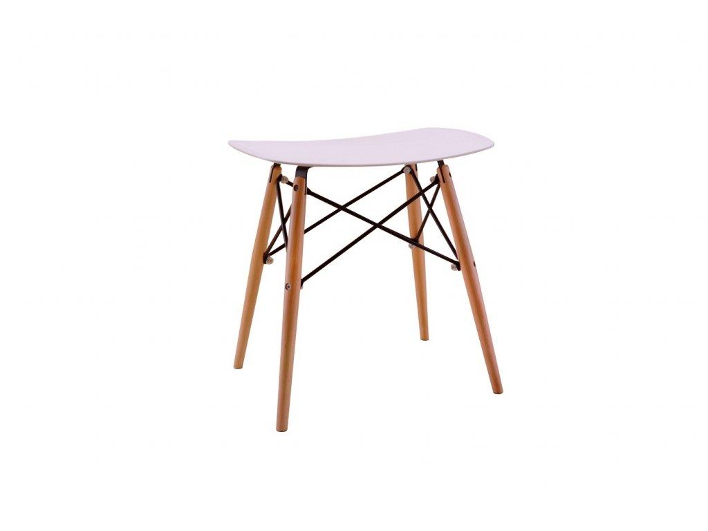 Stolička HANDY bílá polypropylen/ buk