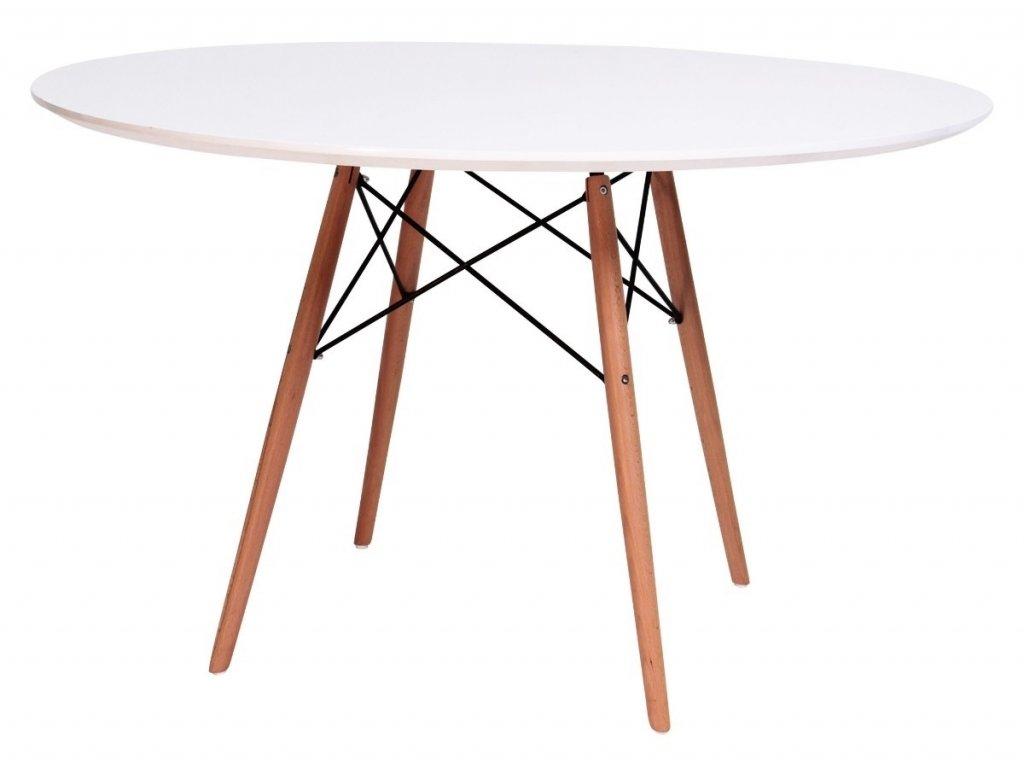 Stůl DSW * 100 - deska mdf bílý noha dřevěná