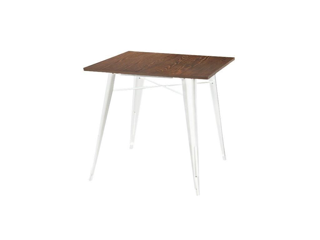 Stůl TOWER WOOD bílý deska sosna antická/kov