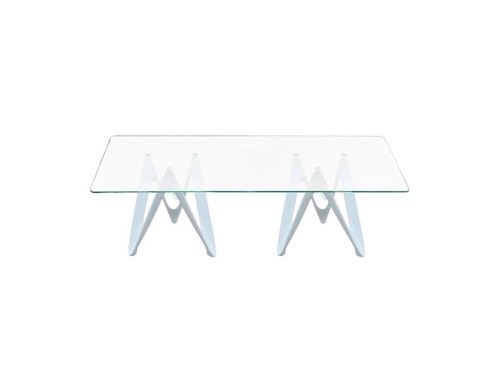 Stůl LAMBDA - deska skleněná obdélníková - vlákno skleněné bílé